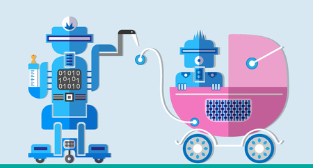A robot with a robot baby in a stroller. Flat design icon set. illustration