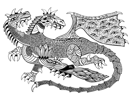 illustration with geometric and floral elements. Original three-headed dragon.