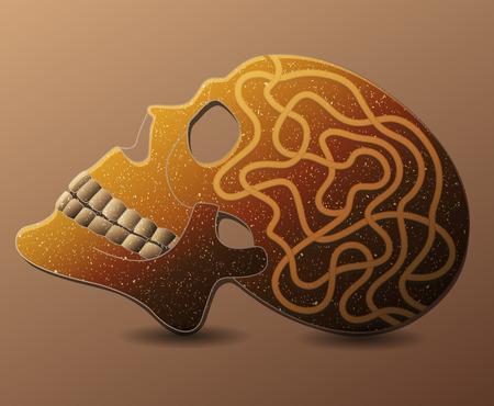 hamlet: Human skull with maze. illustration.
