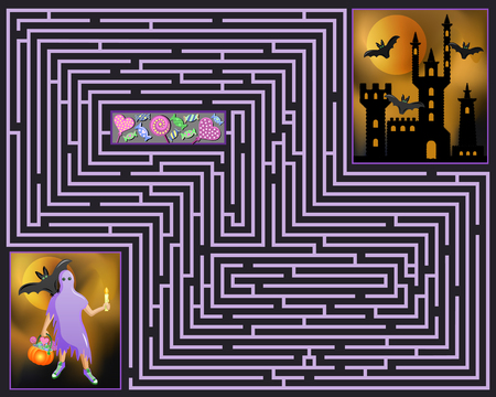 spectre: Halloween maze. Ghost looking for a way into the haunted castle.