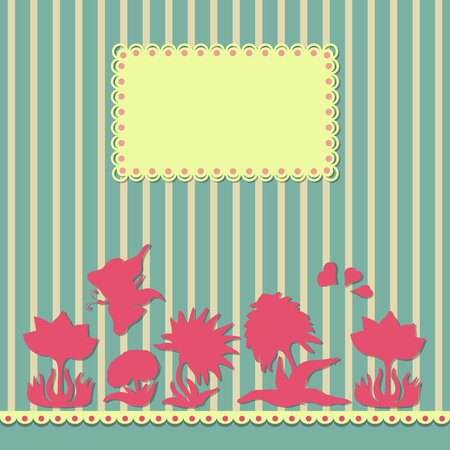 workbook: Vintage flowers, border, hearts and butterfly abstract background. Design for a banner workbook, brochure.