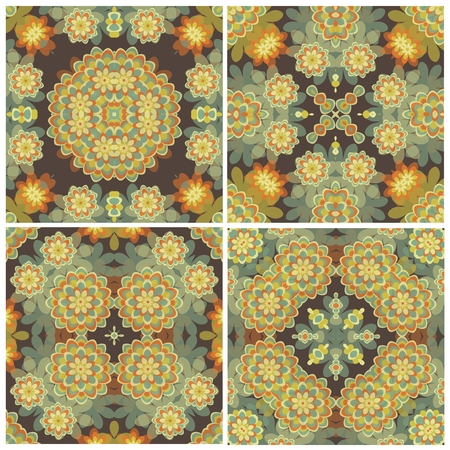 Set of abstract floral seamless background pattern for wallpaper or tile.