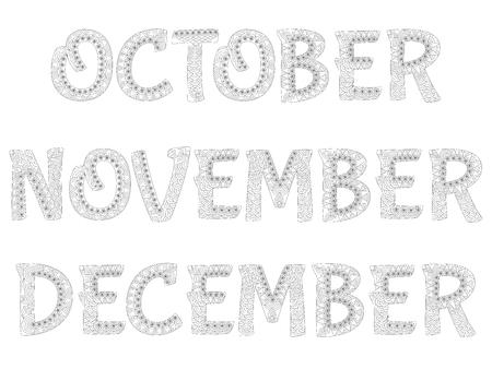meses del año: Los nombres de los meses del año. Octubre Noviembre Diciembre.