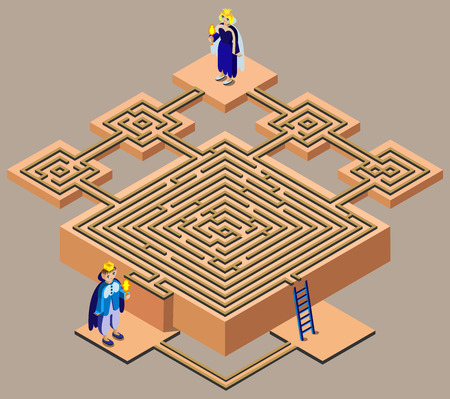 Fairy tale maze. King looking queen. 3D isometric view.