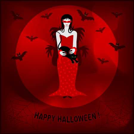Halloween background with witch, black cat, Red Moon and bats. Illustration
