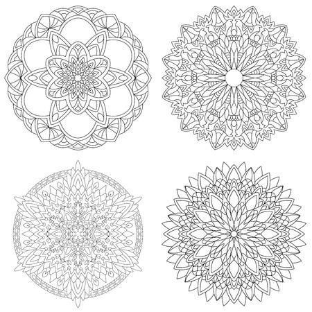 Mandalas. Modèle d'ornement de collection. Livre de coloriage antistress ou tatoo.