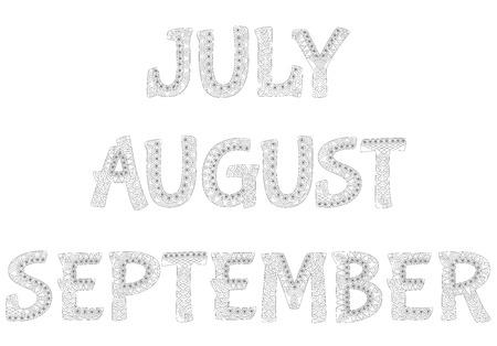 meses del año: Los nombres de los meses del año. Julio, agosto, septiembre. Colección 34.