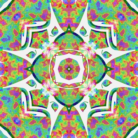 macula: Kaleidoscopic pattern. Hippies style. Vintage background, tile or texture.