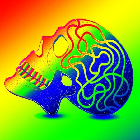 luminous: Mystical human skull in luminous neon colors.