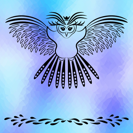 caligraphy: Owl on polygonal background. Caligraphy vintage element. Vector illustration.
