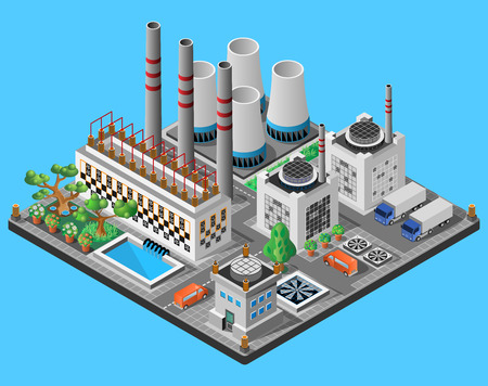 Nuclear power plant. Icon or infographic element. 3D isometric view. Vector illustration. Illustration