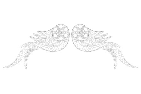 Ornamental angel wings. Zentangle style. Coloring book or tattoo.Vector illustration.