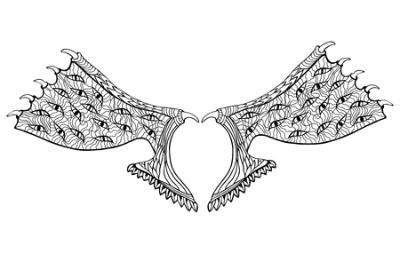 doublet: Devil wings. Zentangle style. Coloring book or tattoo.Vector illustration.