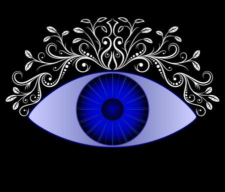 Blue eye. Vintage floral ornaments caligraphy. Vector illustration. Illustration