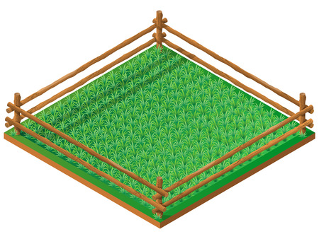 fenced: Fenced meadow. Pasture for farm animals. 3D isometric view. Vector illustration.