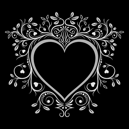 caligraphy: Heart frame. Vintage floral ornaments caligraphy. Vector illustration.