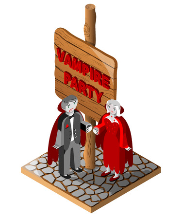 Wooden sign, vampire man and wooman. Vampire party text. Vector illustration. 3D Isometric view.