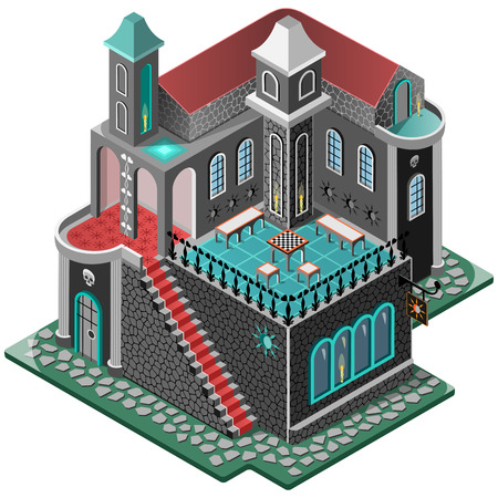 porch chair: Haunted House. Mansion in gothic style. Terrace with chess table, two tower and carpeted staircase. 3D isometric view. Vector illustration.