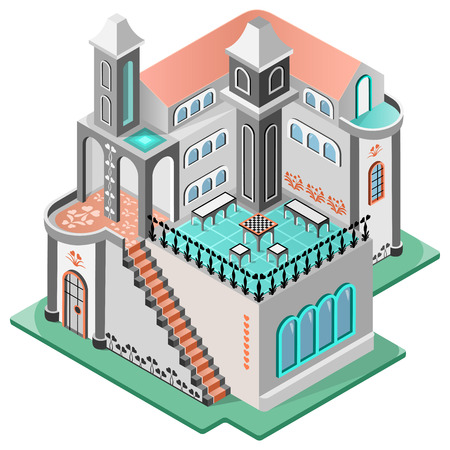 House in oriental style. Terrace with chess table, two tower and carpeted staircase.3D isometric view. Vector illustration. Illustration