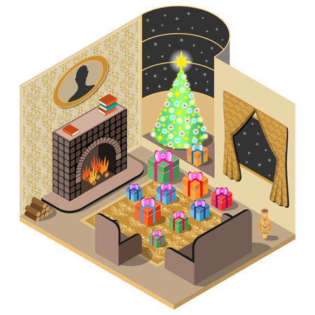 Festively decorated room. Christmas Gifts, tree, fireplace, tapis and vase. 3D isometric view. Vector illustration. Illustration