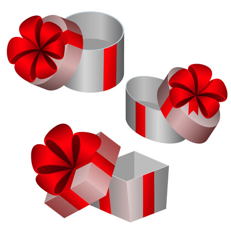 Open box for gifts with a red bow. Icon set. Vector illustration.
