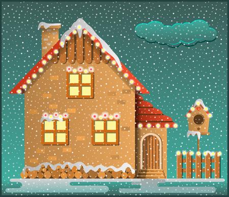 Winter scene. Snowy house, fence and birdhouse. Cartoon style. Vector illustration. Illustration