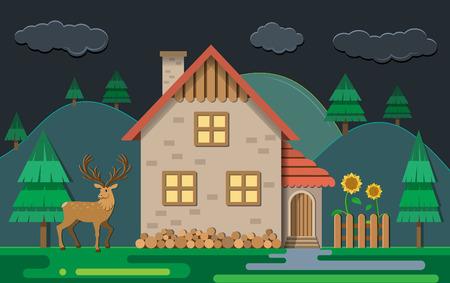 Forest night. Gamekeeper, forest, deer and sunflower. Flat design styles. Vector illustration.
