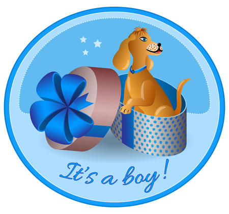 It's a Boy. Birth announcements puppy. Animal gift. Cartoon style. Vector illustration.