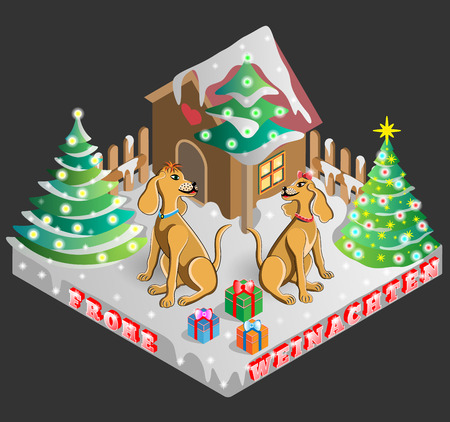 doghouse: Vector illustration of decorated tree, dogs and gifts on Christmas Eve Shown in isometric view with german and translated to marry christmas frohe Weinachten.