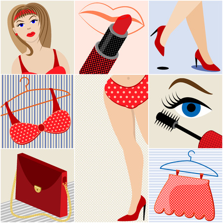 Womens clothing and makeup. Summer collection. Pop art style. Vector illustration.