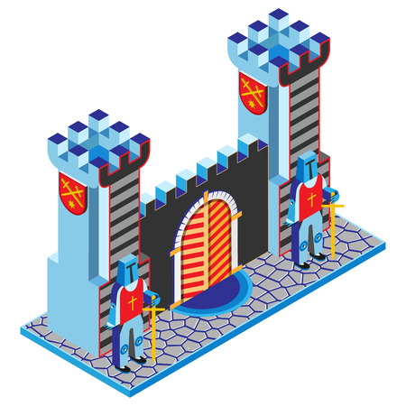Castle gate, tower and guardians. Isometric view. Vector illustration. Illustration