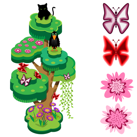 Animal tree. Flowers, butterflies, crow and black panther. Isometric view. Vector illustration. Illustration