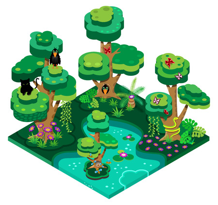 3d isometric design illustration nature landscape with forest, lake, trees, bees, butterflies, snake and crow. Vector illustration.