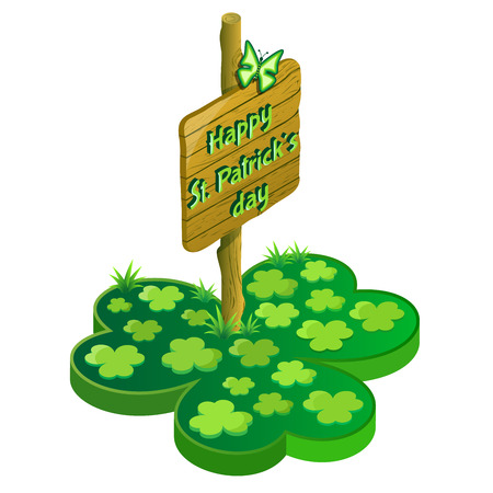 signed: St. Patricks day web icon design with butterfly, signed and clover. 3d isometric view. Vector illustration.