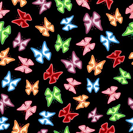 Colorful butterflies on a black background. Seamless pattern. Vector illustration. Vektorové ilustrace