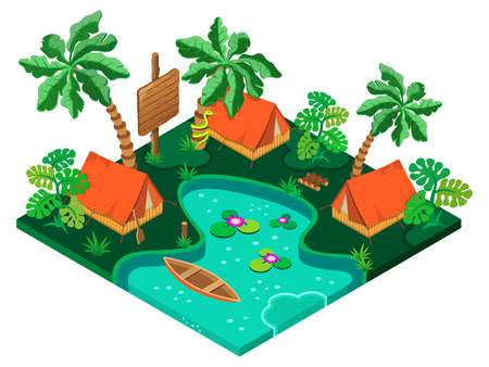 Holiday camp in a tropical forest. 3D isometric view. Vector illustration.