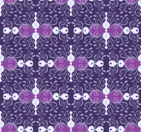 secession: Purple ornamental seamless patterns for making damask wallpapers and textile print. Vintage style. Vector illustration.