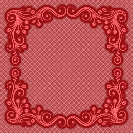 femine: Red vintage frame with floral ornament. Vector illustration.