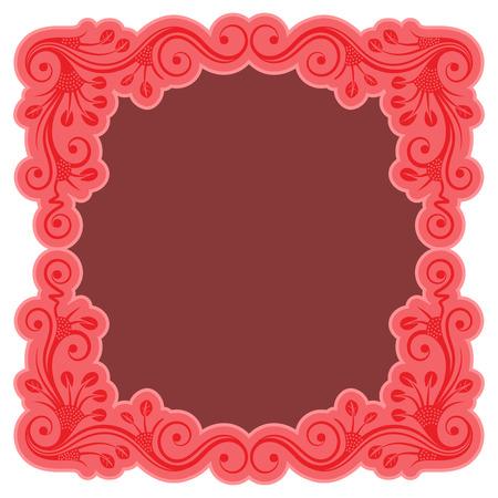 femine: Pink vintage frame with floral ornament. Isolated on white background. Vector illustration. Illustration