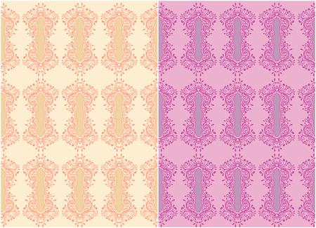 Violet and orange collection ornamental  patterns for making damask wallpapers and textile print. Vintage style. Vector illustration. Ilustração