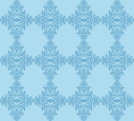 Blue ornamental  patterns for making damask wallpapers and textile print. Vintage style. Vector illustration.