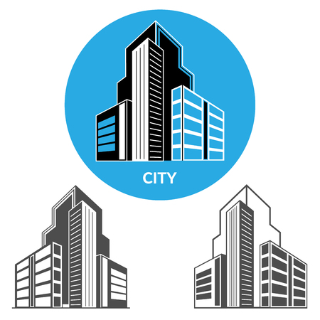 Set of vector icons of city skyscrapers. 3d perspective view. Vector illustration.