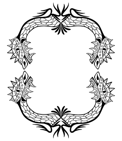 snake calligraphy: Dragon frame. Coloring book and tattoo. Vector illustration. Illustration