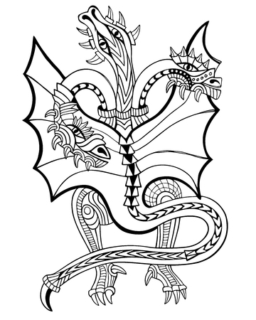 Three-headed dragon. Coloring book. Hand drawn vector illustration with geometric and floral elements. Illustration