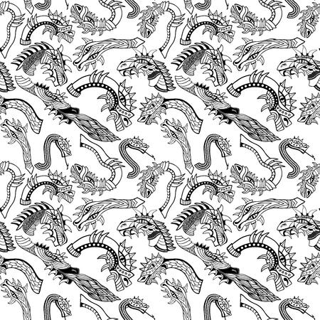 Dragon heads. Hand drawn seamless pattern. Coloring book. Vector illustration. Vektorové ilustrace