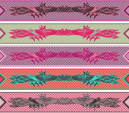 Collection of ribbons with Dragon motif. Asian style. Vector illustration.