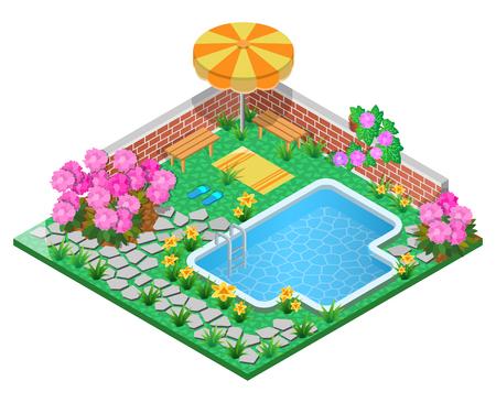 Siertuin met zwembad, rododendron, parasol, muur, handdoek en stoep. 3D isometrische weergave. Vector illustratie.