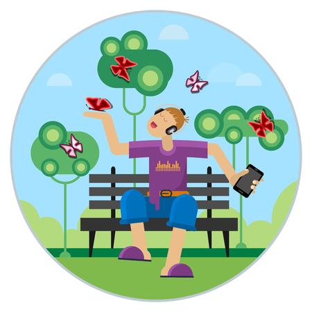 The boy listens to music on a park bench. Flat design style. Vektorové ilustrace