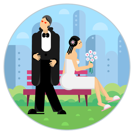 Bride and groom in the park behind the city. Flat design style Vector illustration.