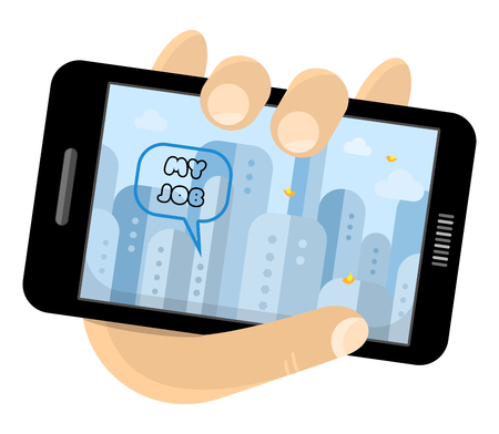 Hand holding phone. The screen is a picture of the city. Vector illustration. Ilustração